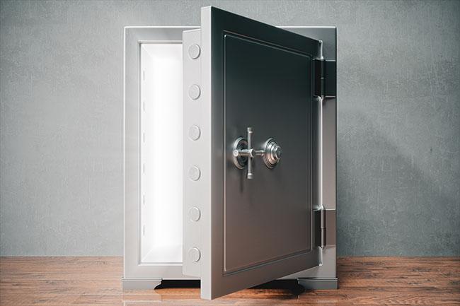 Safe opening to reveal hidden light