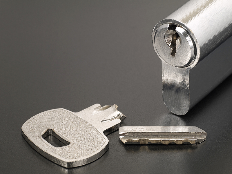 broken key and cylinder for A&B Security locksmith services