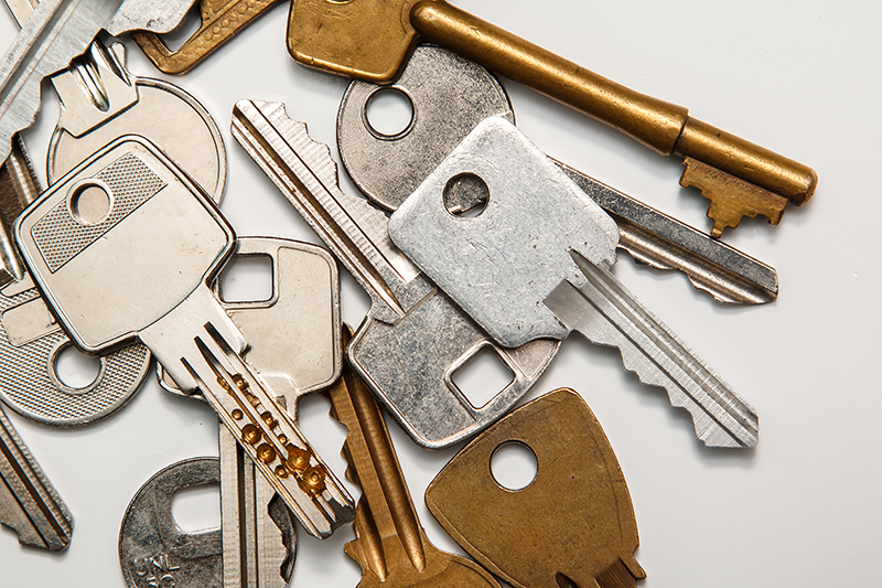 Pile of keys for A&B Security locksmith services